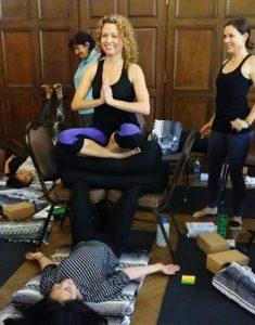 Nurses practicing yoga