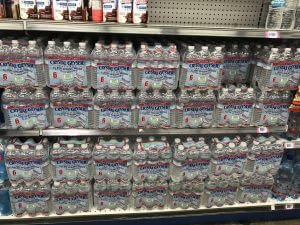 water bottles on store shelves