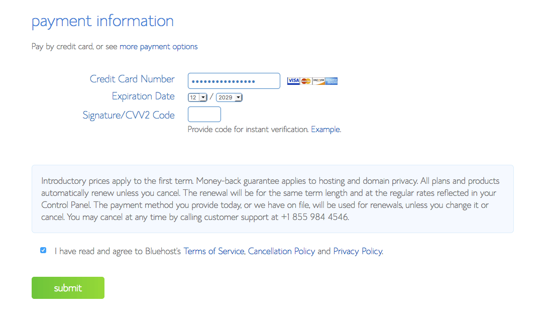 bluehost 6 payment information