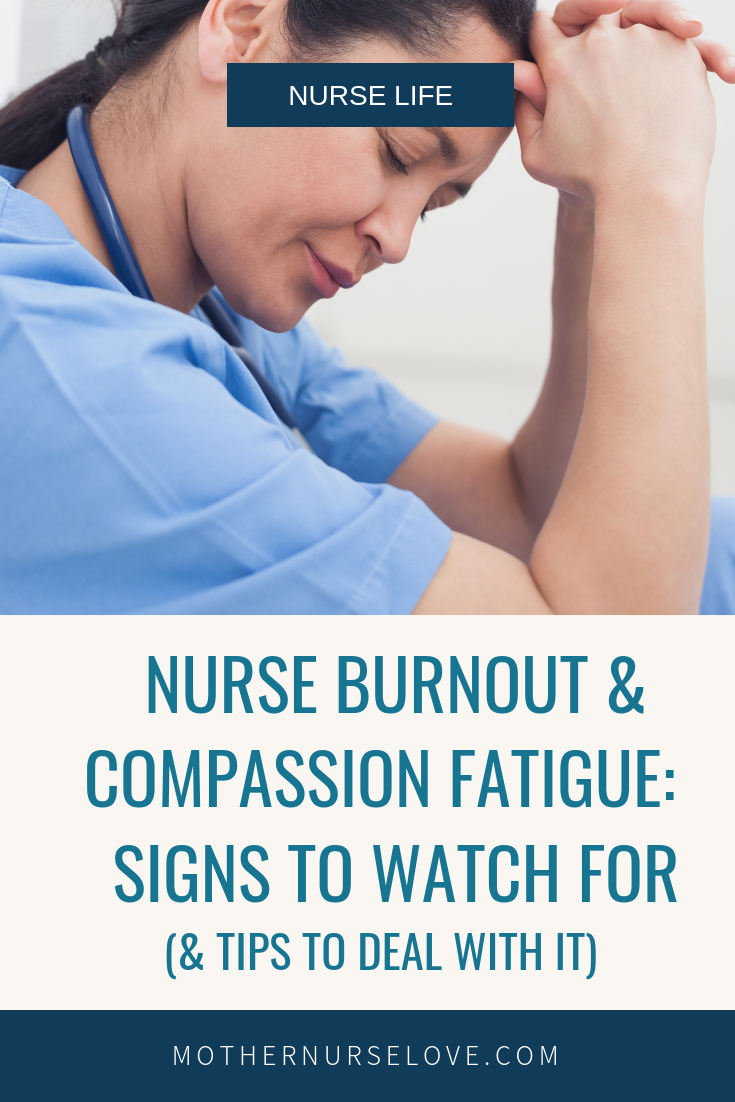 A tired nurse holding her head down with nurse burnout and compassion fatigue