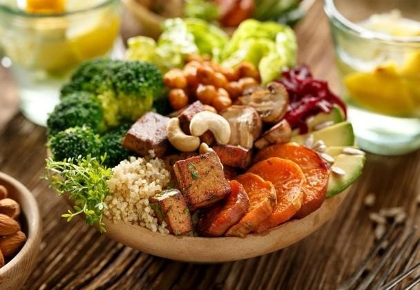 plant based diet - vegetables and tofu in a bowl